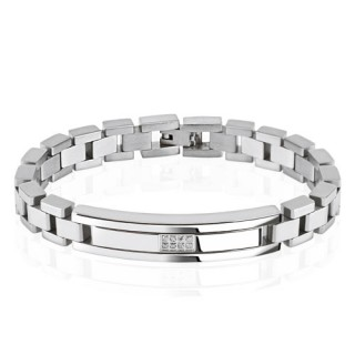 Steel bracelet with small crystals in centre plate