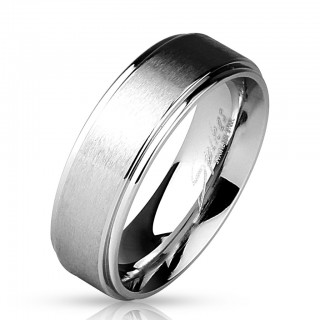Steel ring with brushed finish centre