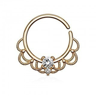 Coloured piercing ring with filigree and gems