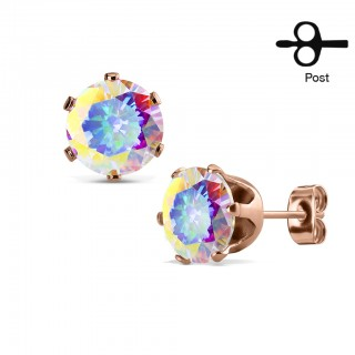 Pair of rose gold ear studs with shiny crystal