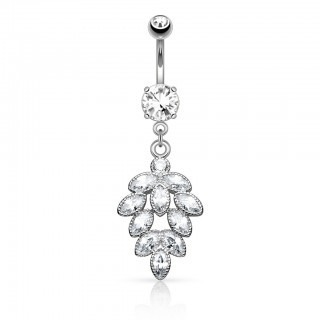 Belly bar with clustered cubic zirconia stones