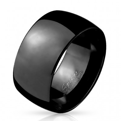Wide black steel ring