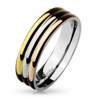 Stainless steel ring with three tone dome