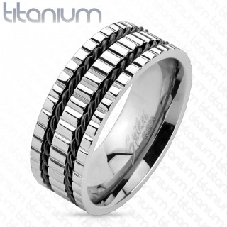 Solid titanium ring with two black wires