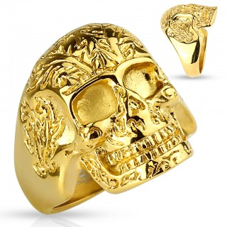 Gold ring with floral pattern skull