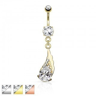 Belly bar with angel wing and clear gems
