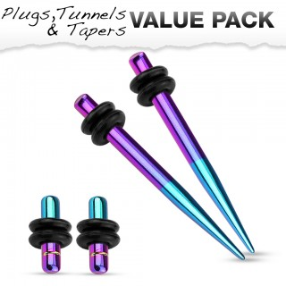 Titanium plated stretch set inc. plugs met metallic aqua and paars