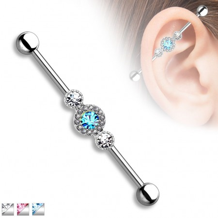 Industrial barbell with three big crystals surrounded with small crystals