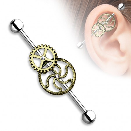 Industrial barbell with steampunk wheels