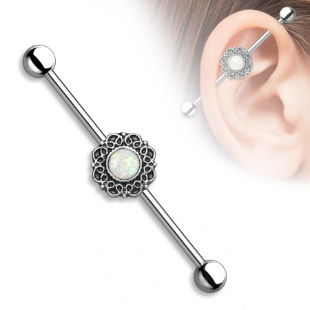 Vintage industrial barbell with filigree heart design and opal glitter gems - Vintage Surgical Steel