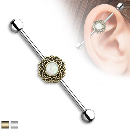 Vintage industrial barbell with filigree heart design and opal glitter gems