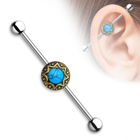 Vintage Industrial Barbell with tribal stardust and Turqoise precious stones - Vintage Gold Plated