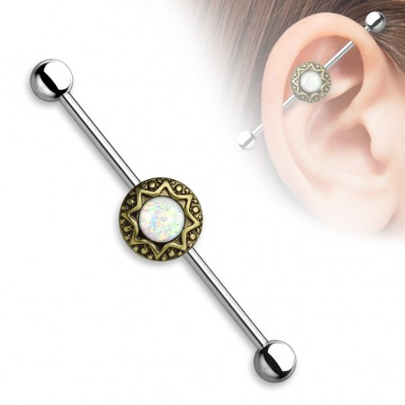 Vintage industrial barbell with tribal stardust and glitter opal gems - Vintage Gold Plated