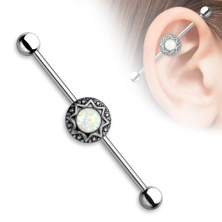 Vintage industrial barbell with tribal stardust and glitter opal gems - Vintage Surgical Steel