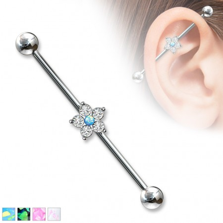 Industrial barbell piercings with floral centre decorated with crystals