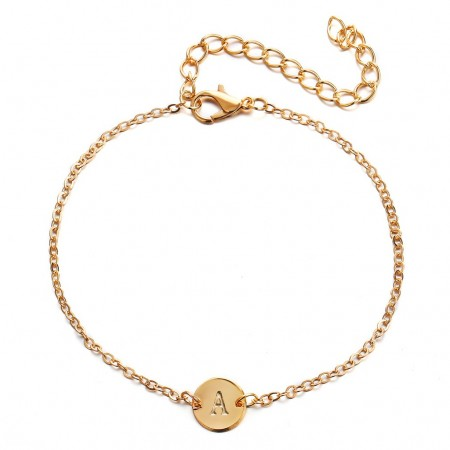 Simple gold link bracelet with letter dangle – A