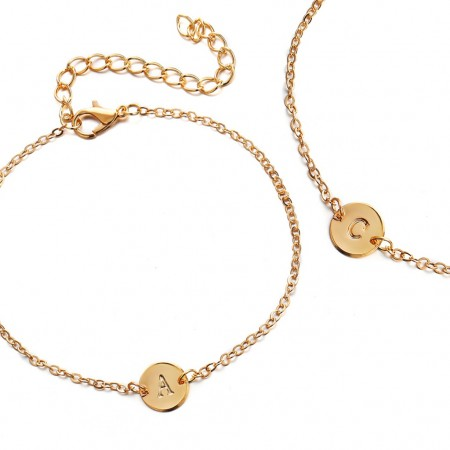 Simple gold link bracelet with letter dangle - U