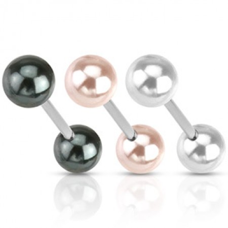 Barbell with shiny pearl coloured balls