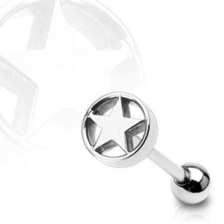 Steel tonguepiercing with round star on top