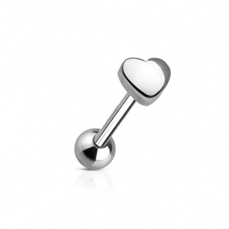Steel tonguepiercing with 5 mm heart on top