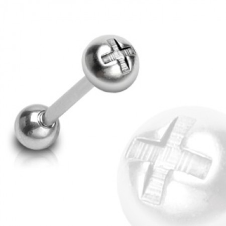 Tongue piercing with screw ball