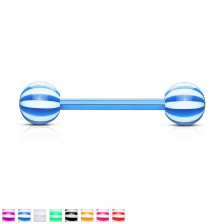 Flexi barbell piercings with candy striped beads