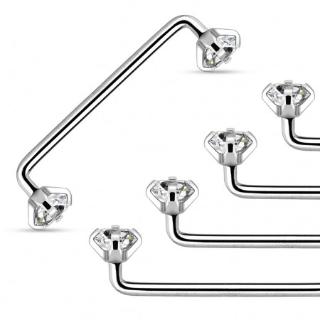 Internally threaded surface barbell with prong crystals