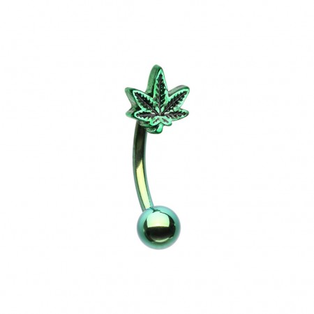 Green curved barbell with pot leaf top