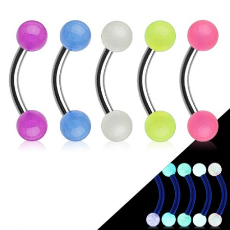 Curved barbell with glow in the dark balls