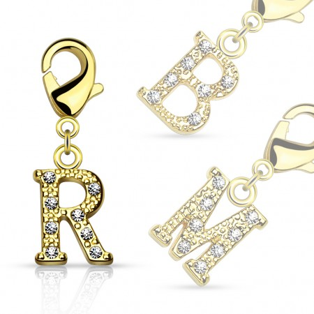 Gold plated dangle with crystals in letter
