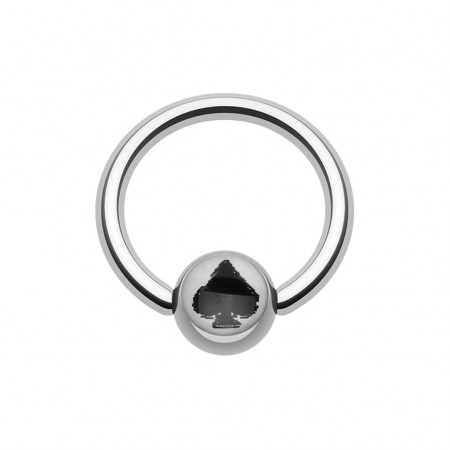Ball closure ring with lucky spade logo in ball