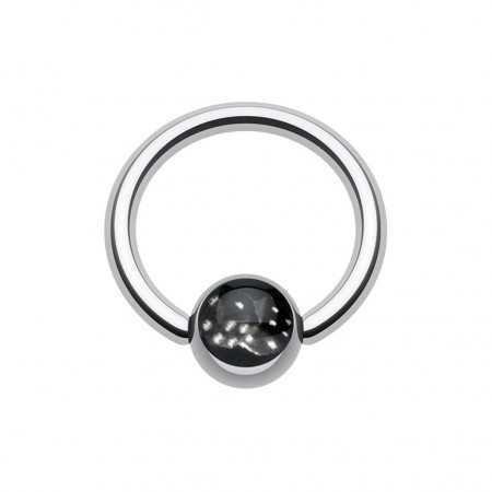 Ball closure ring with two black dice on ball