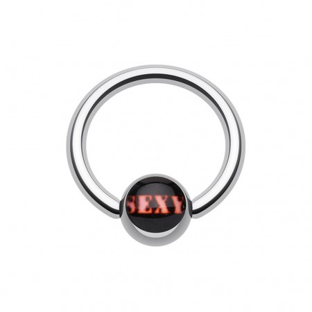 Ball closure ring with sexy text on ball