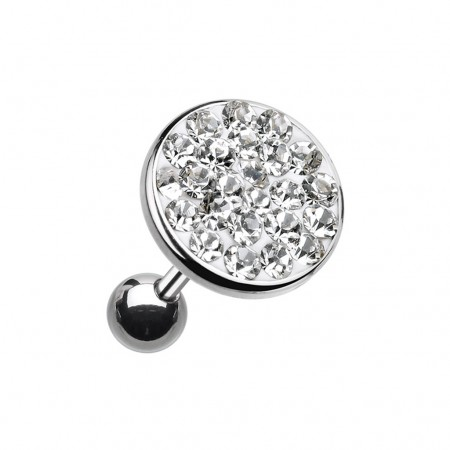 Ear piercing with big coloured crystal top - Clear - 6 mm