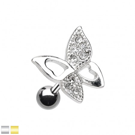 Coloured cartilage piercing with butterfly of crystals