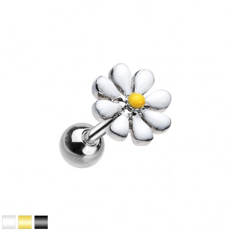 Silver cartilage piercing with coloured daisy flower top