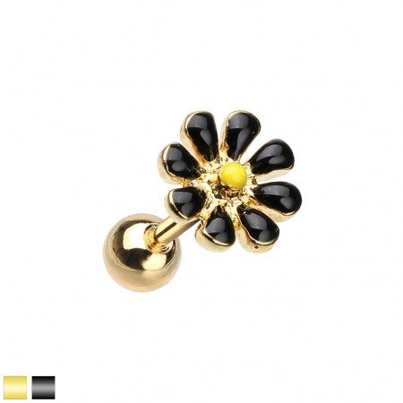 Gold cartilage piercing with coloured daisy flower top
