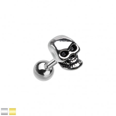 Coloured cartilage piercing with skull head top