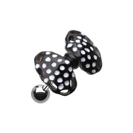 Coloured acrylic dotted bow-tie top on helix piercing - Black