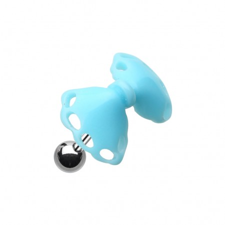 Coloured acrylic bow-tie top on helix piercing - Light Blue