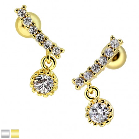 Coloured wide cartilage stud with crystal dangle