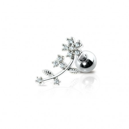 Silver cartilage stud with flower and crystals