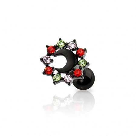 Black cartilage stud with coloured crystals and crescent