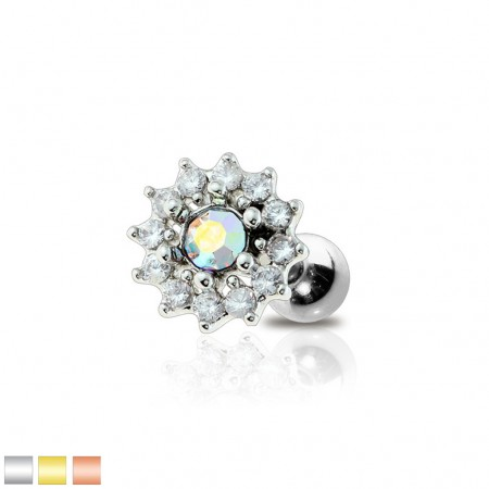 Flower cartilage stud with central coloured crystal