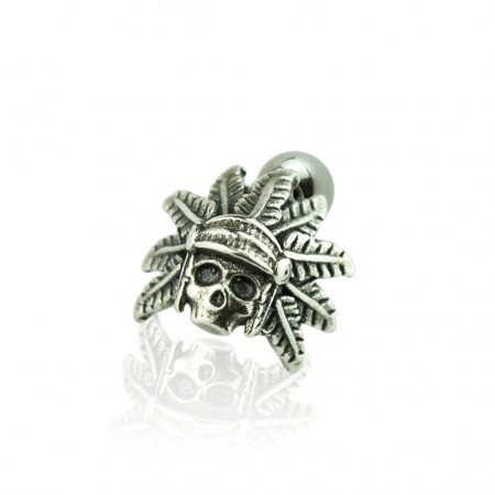 Sterling Silver ear stud with headdress skull