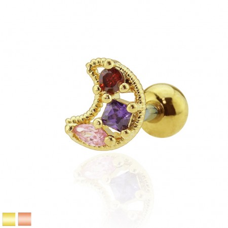 Cartilage stud with crescent moon and coloured crystals