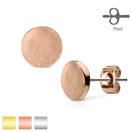 Pair ear studs with round brushed top