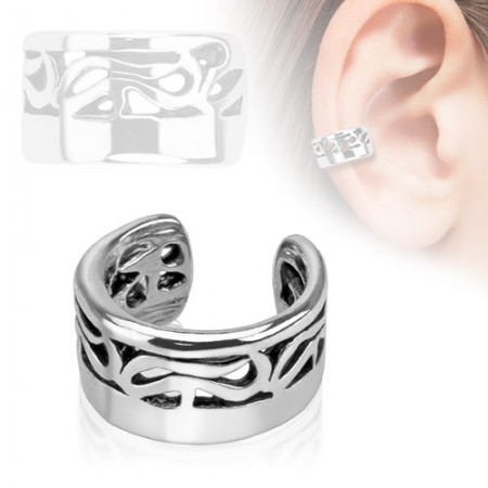 Clip on helix ring with tribal lines