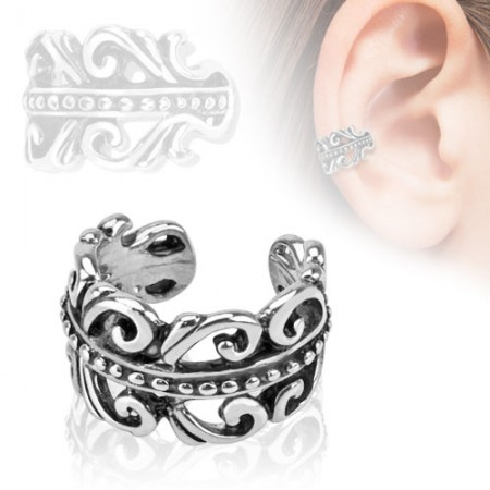 Clip on helix ring with swirls and waves