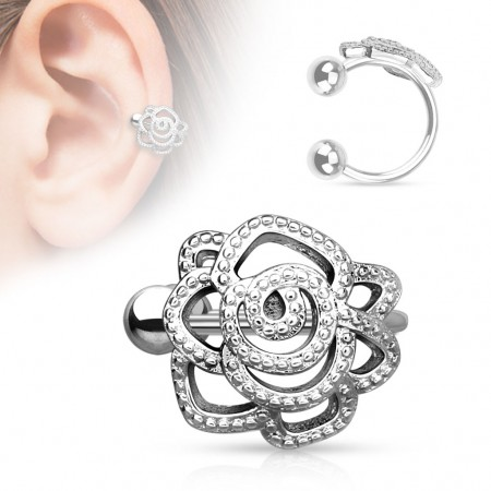 Clip on helix ring with rose